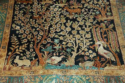 ANTIQUE / VINTAGE PERSIAN TREE OF LIFE AREA RUG 6' X 4' ANIMALS WILDLIFE NATURE