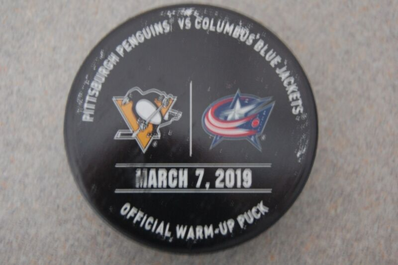 Columbus Blue Jackets Vs. Pittsburgh Penguins 2019 Official Warm Up Hockey Puck