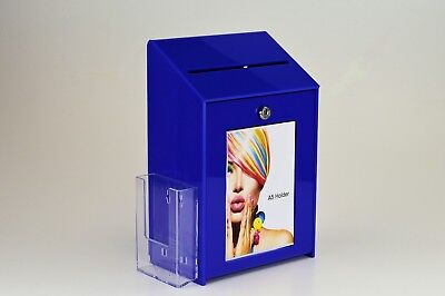 Lockable Collection / Suggestion Box + 1/3rd A4 Leaflet Holder PDS9463 BlueLH
