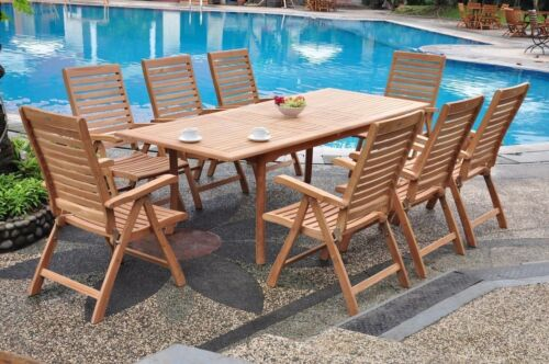 "Ashley A-grade Teak 9pc Dining 94"" Rectangle Table 8 Reclining Folding Chair Set"