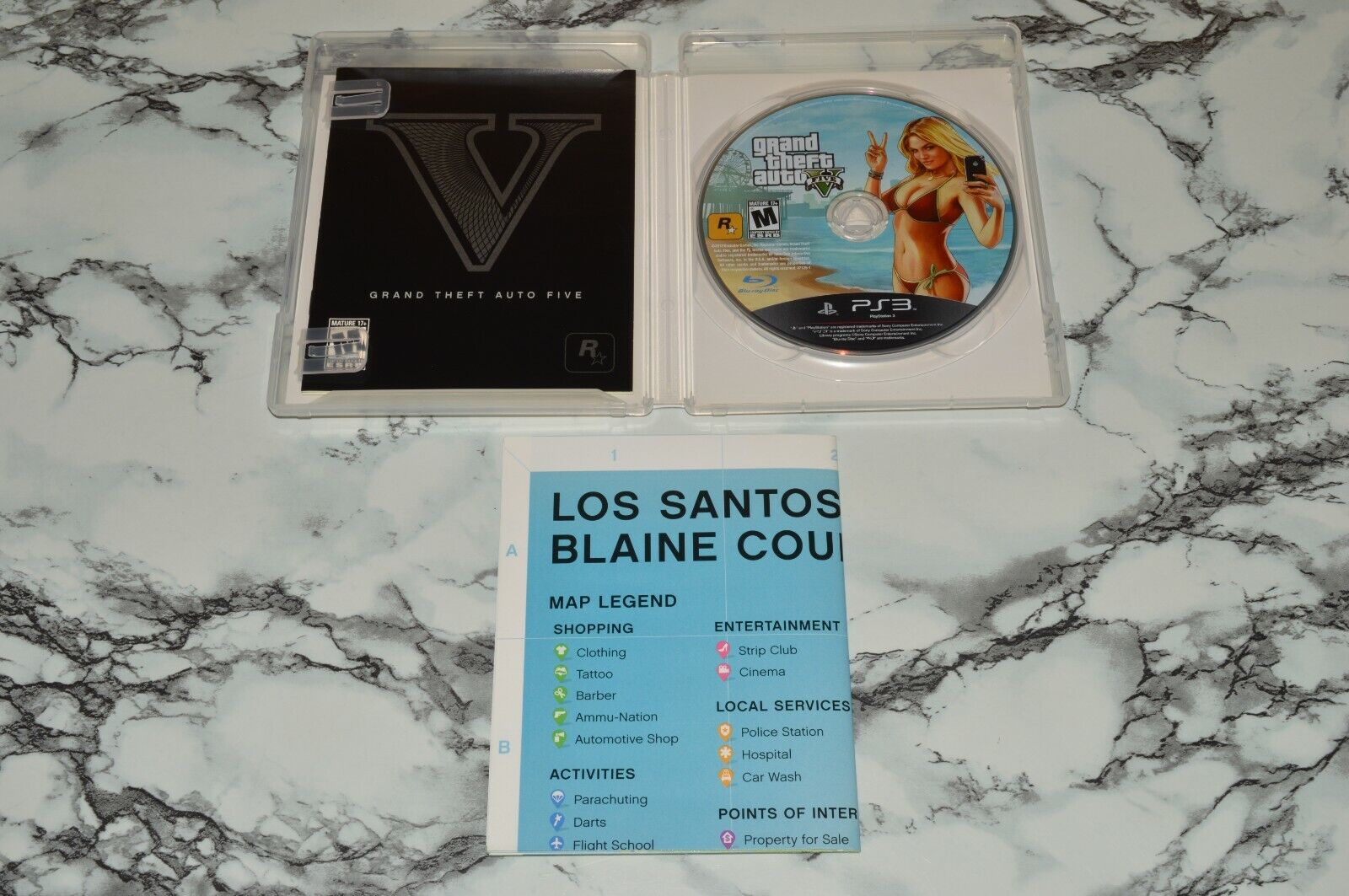 Grand Theft Auto GTA V Five / 5 -- Sony PlayStation 3 PS3 Complete W/ Map - $12.68