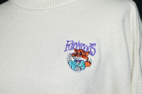VTG Foxwoods Casino Fox Mascot Andrew Rohan Mens Sweater Cream Purple Striped XL