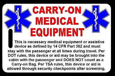 Carry-On Medical Equipment  Bag Tag - TSA - CPAP BiPAP APNEA POC