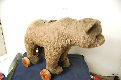 Rare Vintage Steiff pull toy with growler works no reserve must see!!