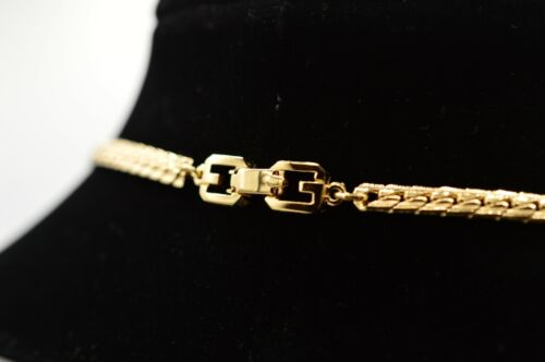 "Givenchy Signed Vintage 30"" Necklace Yellow Gold Tone Chain G Logo Runway BinP"