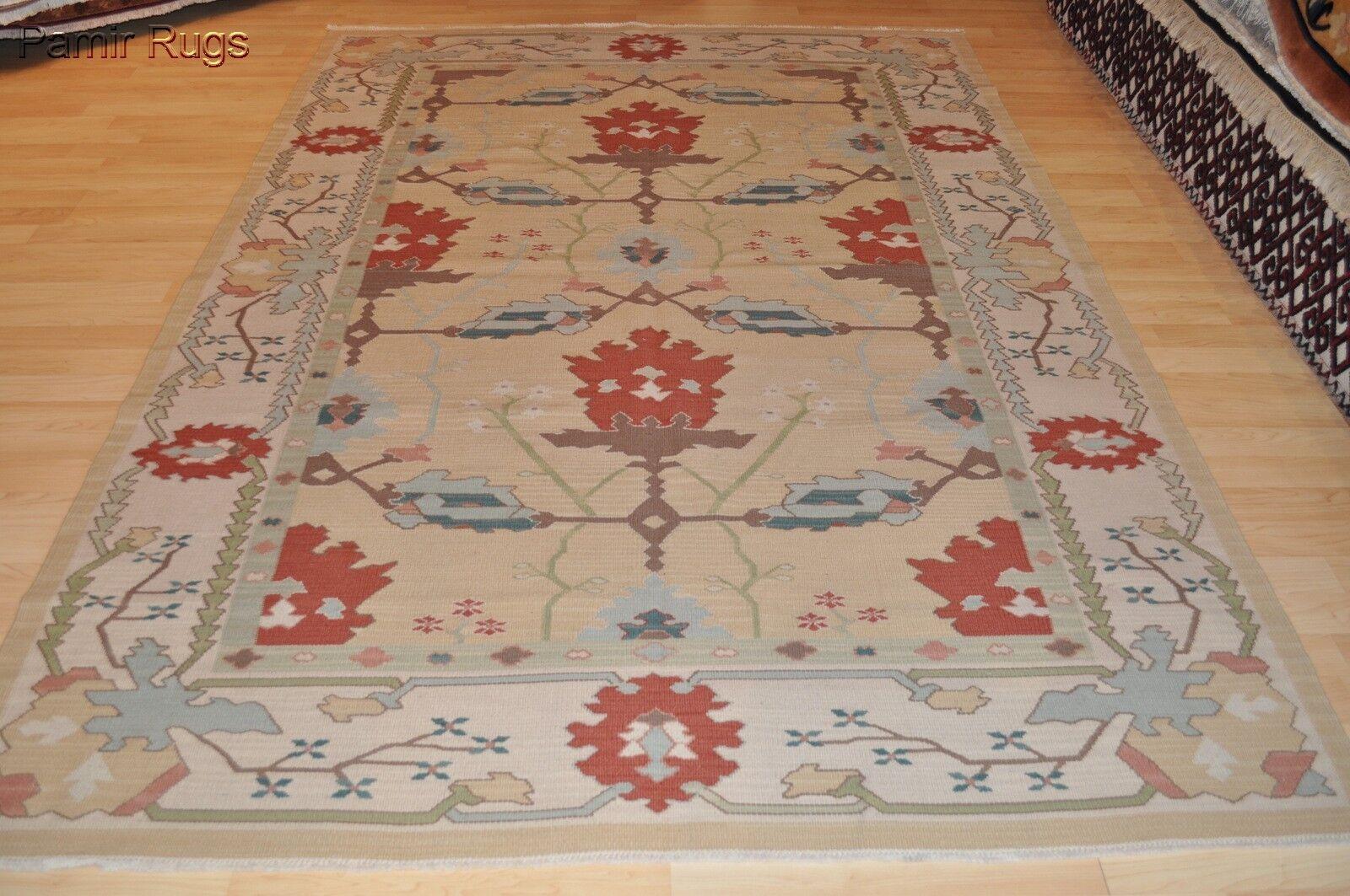 6x9 Ft Handmade Hand Woven Flat Woven Kilim Oushak Design