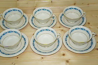 """Castleton Classic Blue (6) Footed Cups, 2 1/8"""" and (6) Saucers, 6"""""""