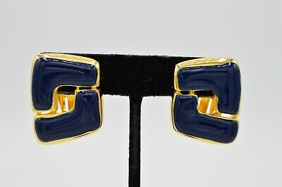 Paolo Gucci Vintage Signed Clip On Earrings Enamel Navy Blue Gold Geometric 9E