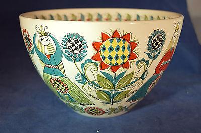 Vtg Rare Mid Century Figgjo Flint Norway Large Bowl - Norwegian Girls & Flowers