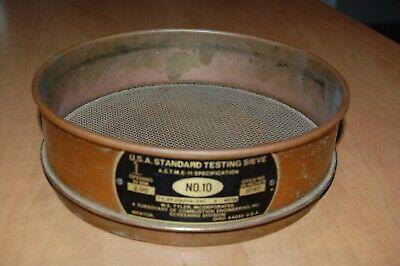 Usa Standard Brass Testing Sieve Tyler Equivalent 2mm .0787in Number 10 Vintage