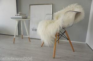 genuine  Mongolian  curly  Icelandic  sheepskin rug - cream/white/ivory