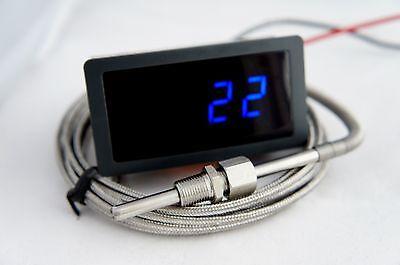 "Exhaust Gas Temperature Gauge Kit 1/8"" NPT, EGT. 2 Meter Cable. Blue LED"