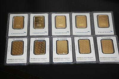 CREDIT SUISSE 1 OZ. FINE .999 GOLD BARS SEALED IN ASSAY CERTIFICATE! BEAUTIFUL!