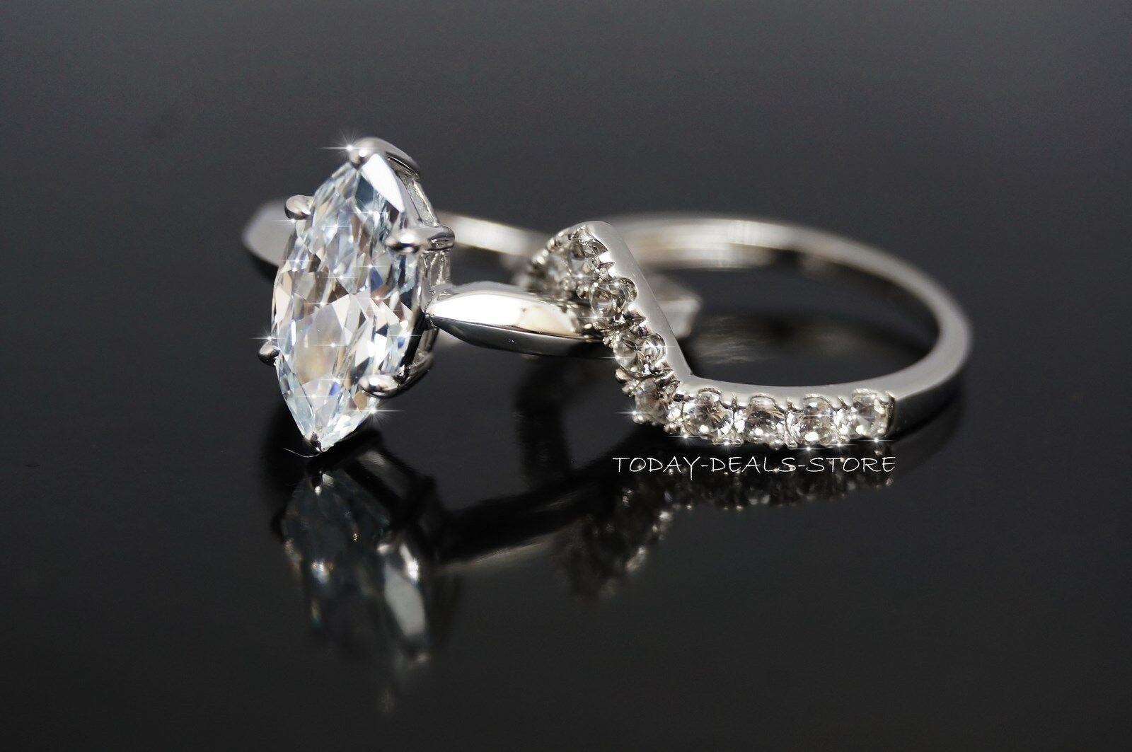 wedding engagement rings set matching marquise cut