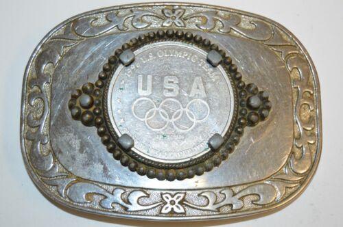 Vintage 1996 Atlanta USA OLYMPICS Rings Coin Metal Western Belt Buckle Rare