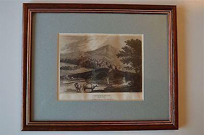 ORIGINAL ANTIQUE FRAMED PRINT MAENTWROG BRIDGE NORTH WALES CIRCA.1815 5