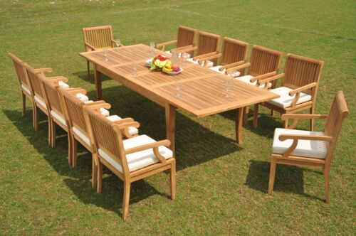 """13-pc Outdoor Teak Dining Set: 122"""" Xl Rectangle Extn Table, 12 Arm Chairs Sack"""