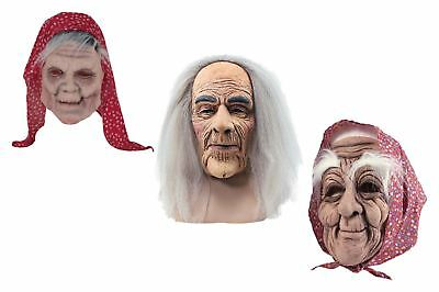 Old People Creepy Mask Latex Grey Hair  Wig Halloween Fancy Dress - People Halloween Masks