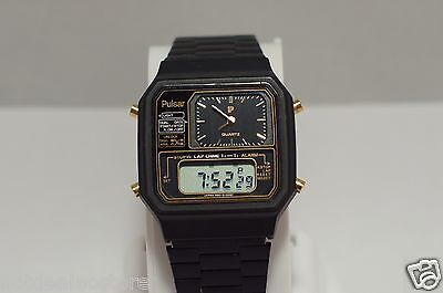 VERY RARE PULSAR (by Seiko) Analog & LCD Display Black Watch Y651-5140 / 5120NT