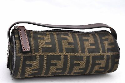 Authentic FENDI Zucca Hand Pouch Canvas Leather Brown 96266