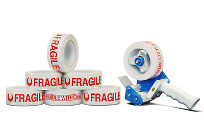 Fragile Handle With Care Printed Tape 36 Rolls 2 X 110 Yards 2 Mil Dispenser