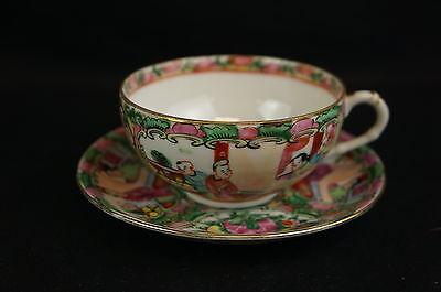 Nice vintage Famille Rose tea cup / saucer set [Y8-W6-A9]