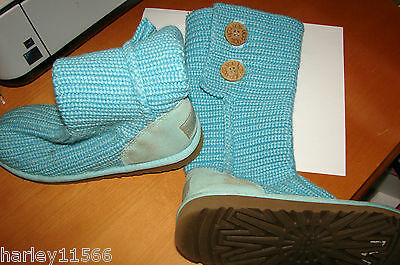 UGG BOOTS BLUE CARDY CLASSIC KNIT SIZE 4.0 YOUTH LOW MILEAGE NEED CLEANING!