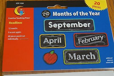 CTP 1134 Chalk It Up Months of the Year Calendar Headers Classroom Decorations - Classroom Calendar