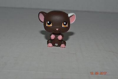 Littlest Pet Shop~#538~Mouse~Brown Pink~1 White Ear~Flower~Orange Dot Eyes