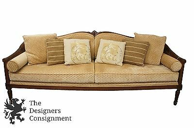 Antique Walnut Carved 8Ft Bergere Caned Sofa French Louis XVI Rococo Day Bed