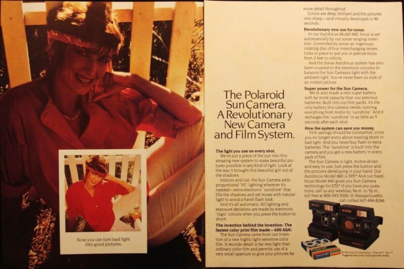 POLAROID SUN CAMERA - 2 PAGES VINTAGE 1981 AD - RUMS OF PUERTO RICO ADVERTISING