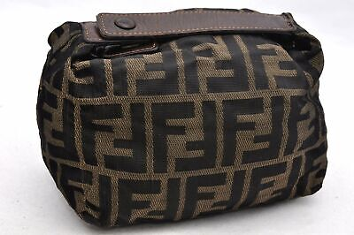 Authentic FENDI Zucca Hand Pouch Canvas Leather Brown 91046