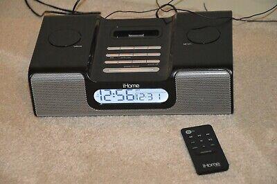 iHome iH8 AM/FM Clock Radio Dual Alarm / iPod Docking Station WITH REMOTE Black