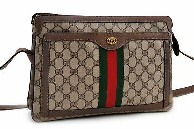 Authentic GUCCI Sherry Line Shoulder Bag GG PVC Leather Brown 92451