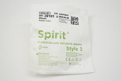 Bard 39101 Spirit Hydrocolloid Adhesive Sheath Style 3 25mm Lot Of 5
