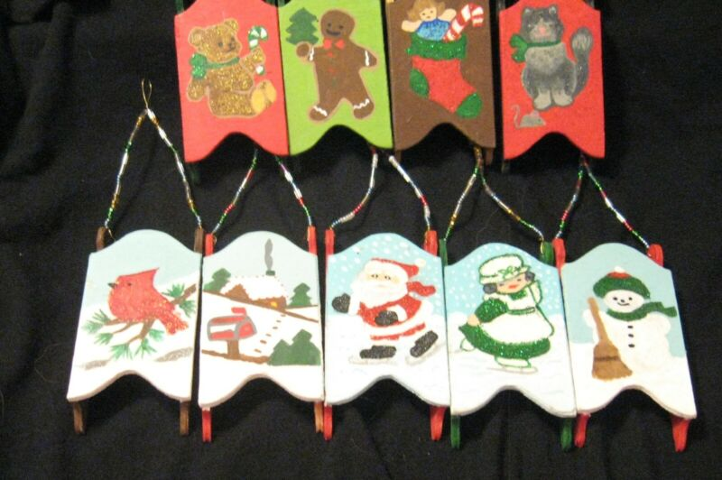 hand painted christmas ornaments sold as a set