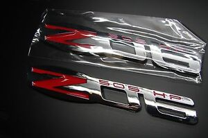 Z06 505 HP EMBLEM RED CHROME ZO6 CORVETTE FENDER BADGE DECAL (2PC.-SET)