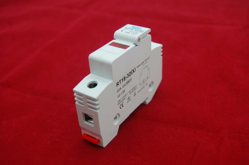 1PC 1 Pole Din Rail Mounting RT18-32 Fuse Holder for 10x38MM Fuse link