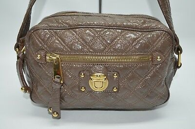 Marc Jacobs Brown Nude Quilted Patent Leather Zip Small Shoulder Bag