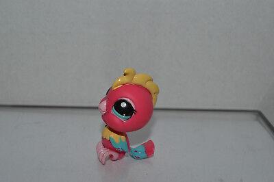 Littlest Pet Shop~#2330~Tropical Cockatoo Bird~Hot Pink Yellow Pink~Blue Eyes