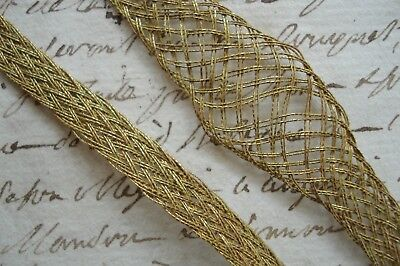 Used, 1y VINTAG FRENCH GOLD METAL THREAD BULLION TRICOTINE LACE APPLIQUE RIBBON TRIM   for sale  Ventura