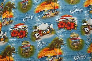 Castaway Cay Disney Cruise Line DCL Hawaiian Men Shirt Aloha Medium