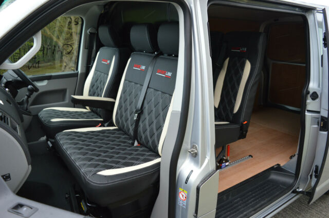 Volkswagen VW Transporter T5 KOMBI Crew Cab Van Seat Covers Black White Diamonds