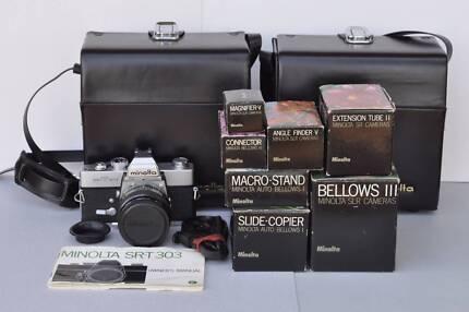 Vintage Minolta SRT303 Camera plus accessories – never been used