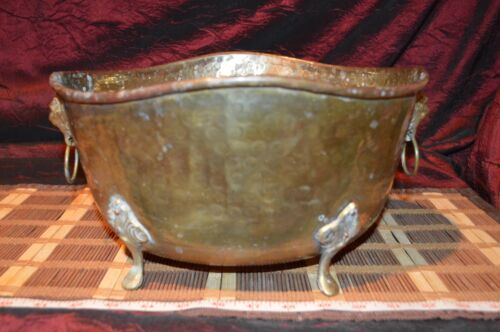 """Solid Brass Hammered Footed Planter with Lion Heads 12 1/4""""x10 1/8"""""""
