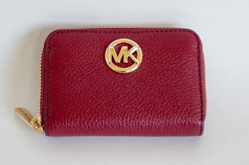 7301a20ccf05 NWT Michael Kors Fulton Zip Around Coin Case Pebbled Leather Mulberry