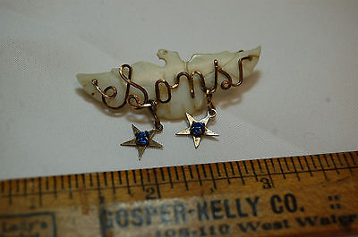 Vintage Patriotic Eagle mother of pearl mothers pin sons stars  war