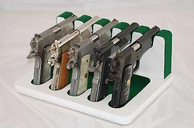 Pistol 5 Gun Rack Stand 503 White Green Cabinet Safe