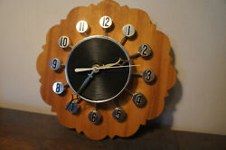 Vintage Spartus Atomic Style Record Sunburst & Wood Vtg Retro MCM Clock WORKING