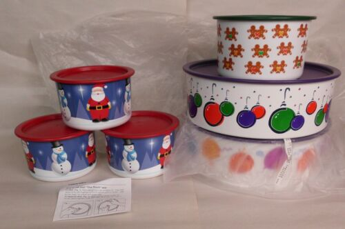 Tupperware 2 Birthday Balloon Cookie Snack Canisters 3 Santa 1 Gingerbread NEW